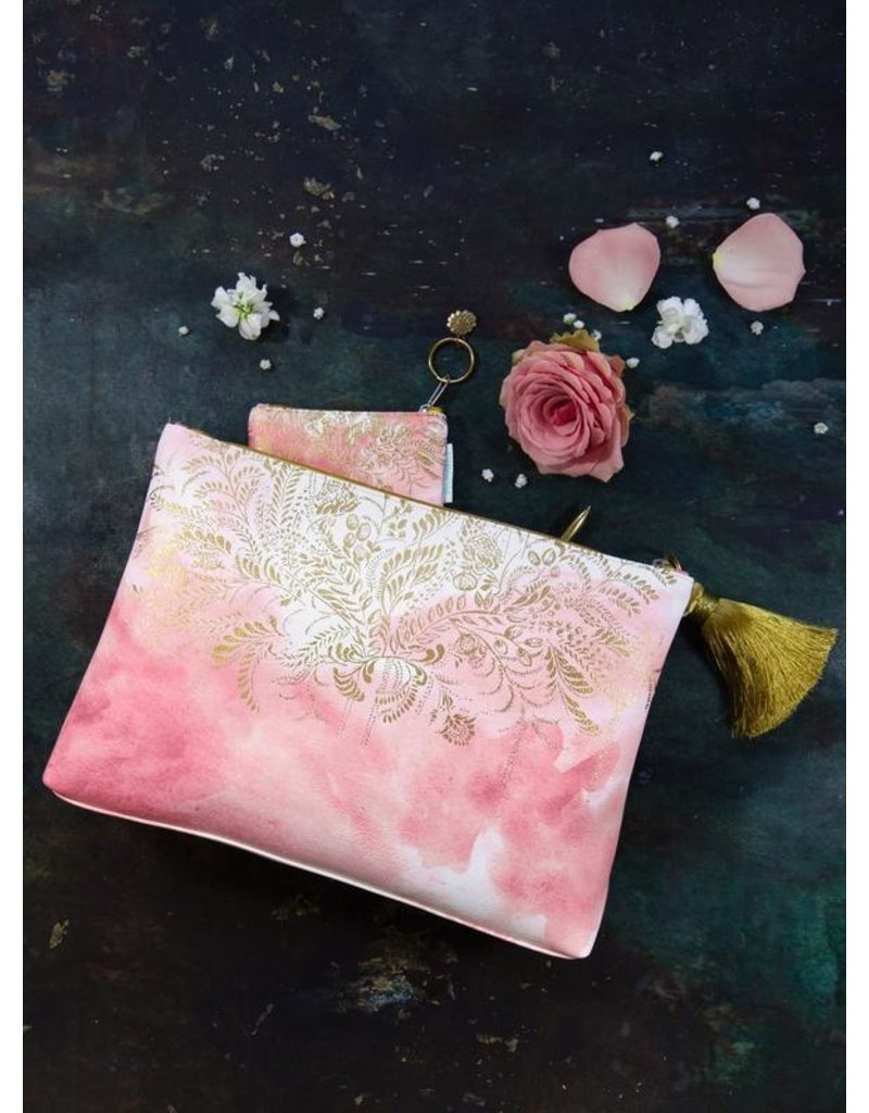 Papaya Art Pouch, Large Tassel - BLUSH WATERCOLOR