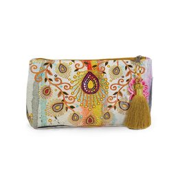Papaya Art Pouch, Small Tassel -MOROCCAN PEACOCK