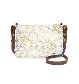 Papaya Art Crossbody -WHITE GILDED FLOWERS