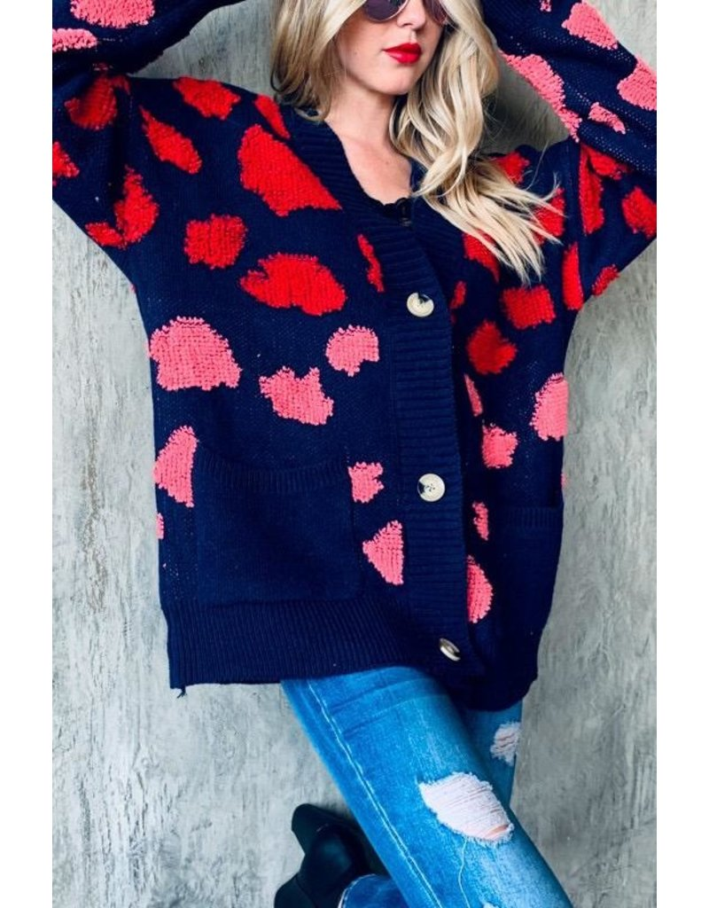 And The Why Cardigan Sweater-Oversized Fit, Pink & Red Animal Print