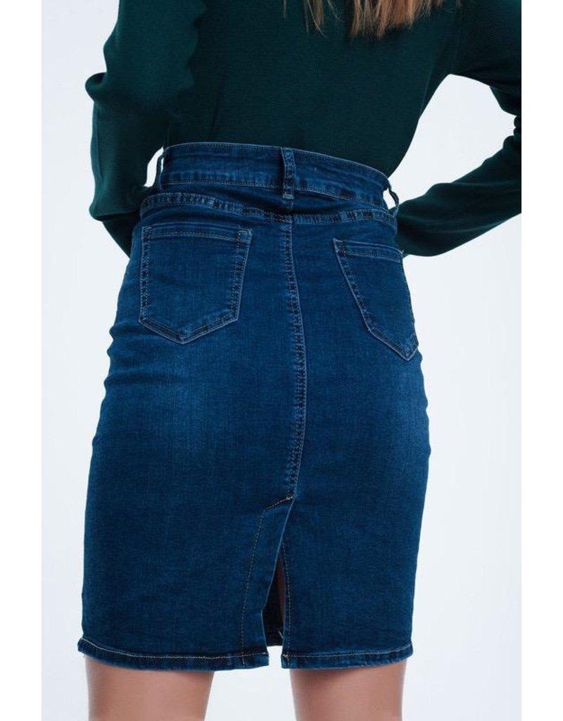 Q2 Clothing Skirt-Denim Long Mini