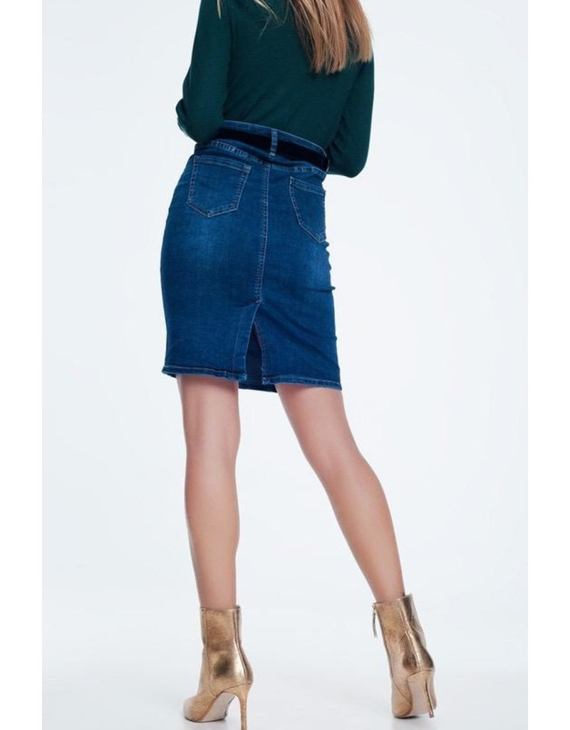 Q2 Clothing Skirt-Denim Long Mini
