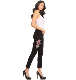 K's More Jeans-Cropped, Flared Hems w/Floral Print