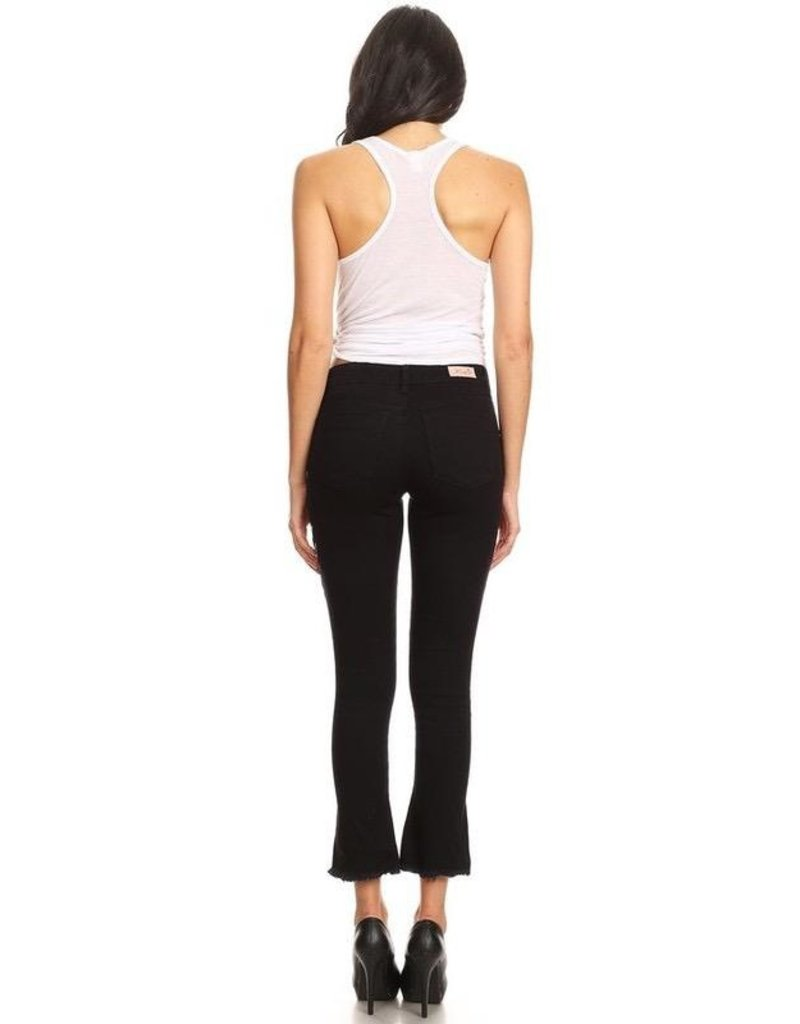 Jeans-Cropped, Flared Hems w/Floral Print