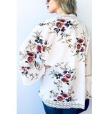 And The Why Kimono Cardigan-Bell Sleeve Lace & Floral