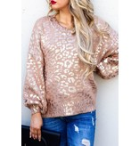 And The Why Sweater-Pink Gold Leopard