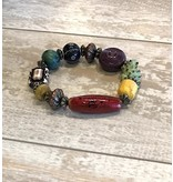 Lotus Moon Arts Bracelet-Exotic Raku Beads & Happy Turtle
