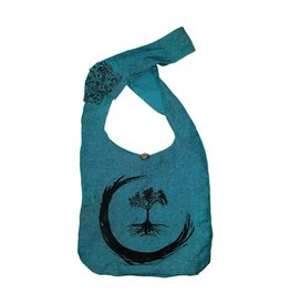 Kathmandu Imports Cotton Hobo Bag-'Tree of Life', Blue