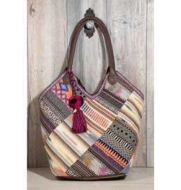 Urbanista Tote Bag-Serape Patch Woven & Tassel