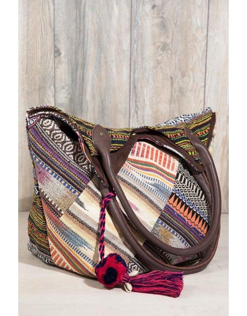 Urbanista Tote Bag-Serape Patch Woven & Tassel