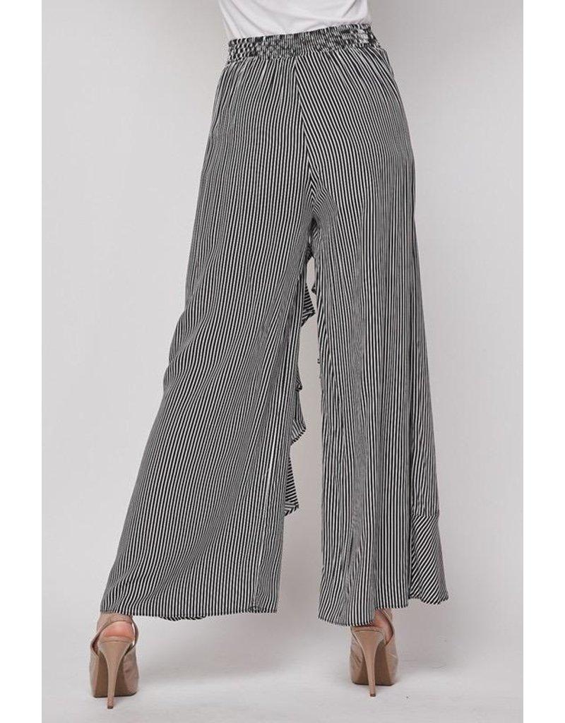 Fashion District LA Pants-Stripe & Ruffle Palazzo Style