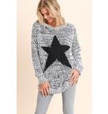 Doe & Rae Sweater-Grey Fuzzy Knit with Black Star