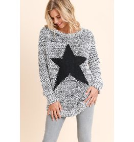 Doe & Rae Sweater-Grey Fuzzy Knit with Black Star