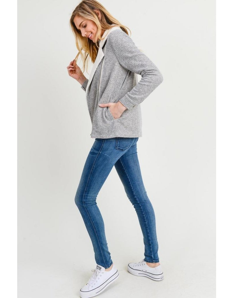 Doe & Rae Jacket-Comfy Fuzzy, Side Zip