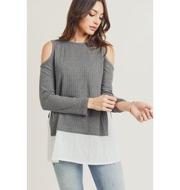 Doe & Rae Top-Cold Shoulder, Long Sleeves & Peekaboo Shirt Hem