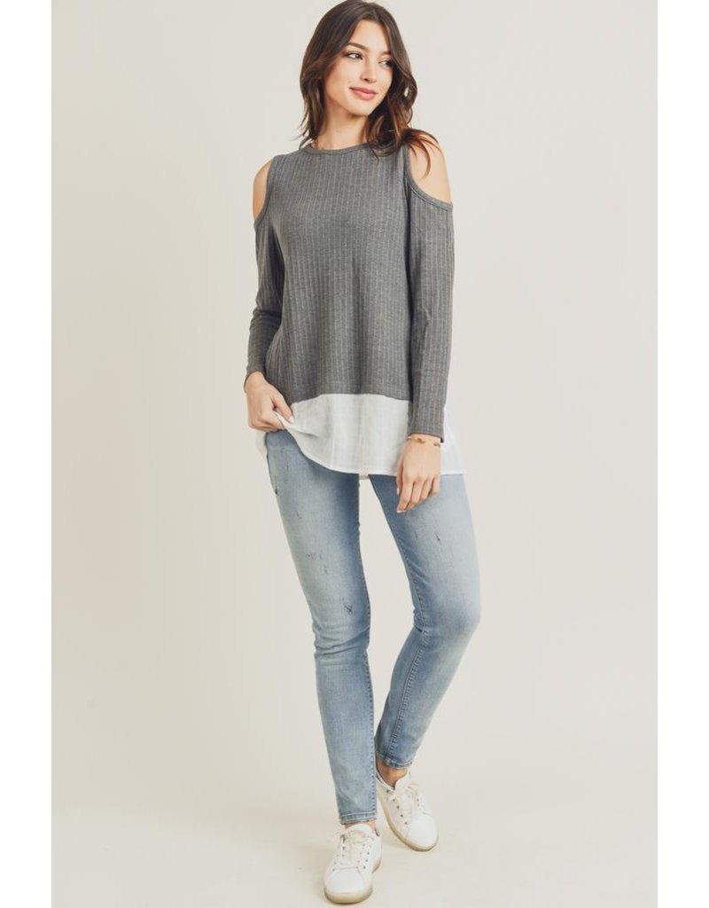 Doe & Rae Top-Cold Shoulder, Long Sleeves & Peekaboo Shirt Hem