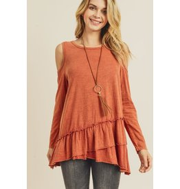 Doe & Rae Top-Cold Shoulder, Long Sleeves, Angle Ruffle Hem