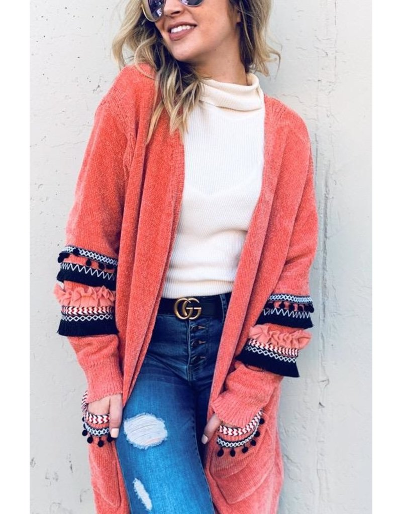 And The Why Cardigan Sweater-Ripple Tassel Sleeves
