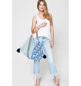 Urbanista Hobo Bag-Floral Emb & Antique Coin Trim, Blue
