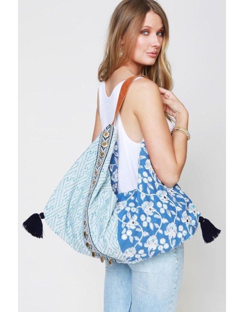 Urbanista Hobo Bag-Floral Emb & Antique Coin Trim, Blue