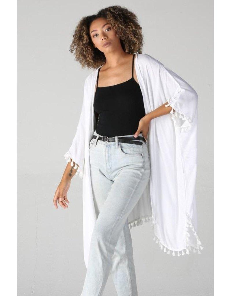 Angie Clothing Kimono-Crochet Back & Pom Pom Fringe Hem