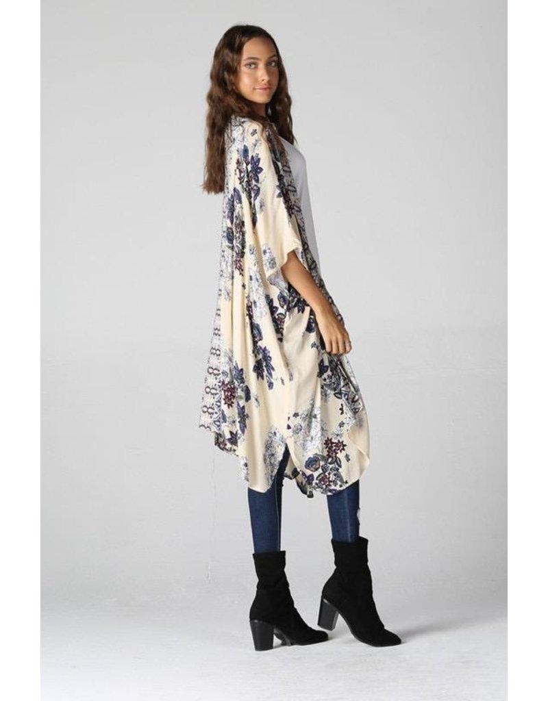 Angie Clothing Kimono-Floral Print, Dipped Hem