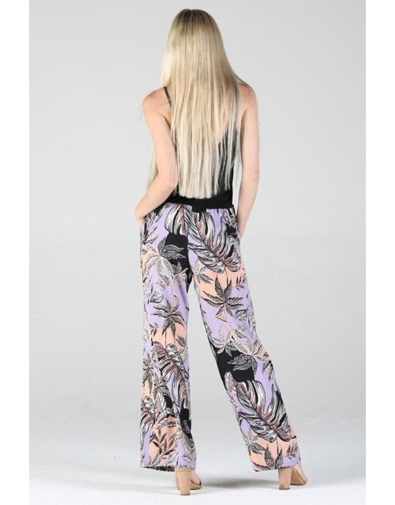 Angie Clothing Pants-Tropical Wide Leg, Tie Front