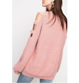 Easel Sweater-Pearl Detailed Sleeve Cut Outs
