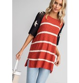 Easel Top-American Flag Knit Pullover, Short Sleeves