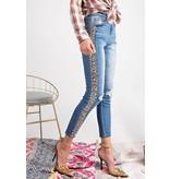 Easel Jeans-Animal Print Side Stripe