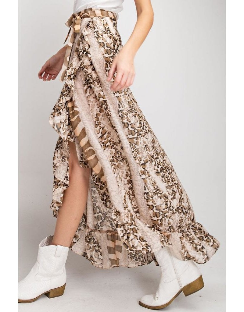 Easel Skirt-Maxi Wrap Animal Print