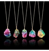 Necklace-Chakra Quartz Irregular Rainbow