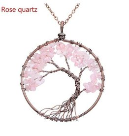 Necklace-Tree of Life, ROSE QUARTZ Pendant w/Copper Chain