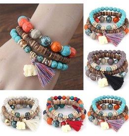 Bracelet-SET (3) Boho Tassel & Elephant Charm