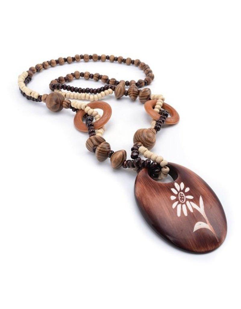Necklace-Boho Wood Beads & Painted Daisy
