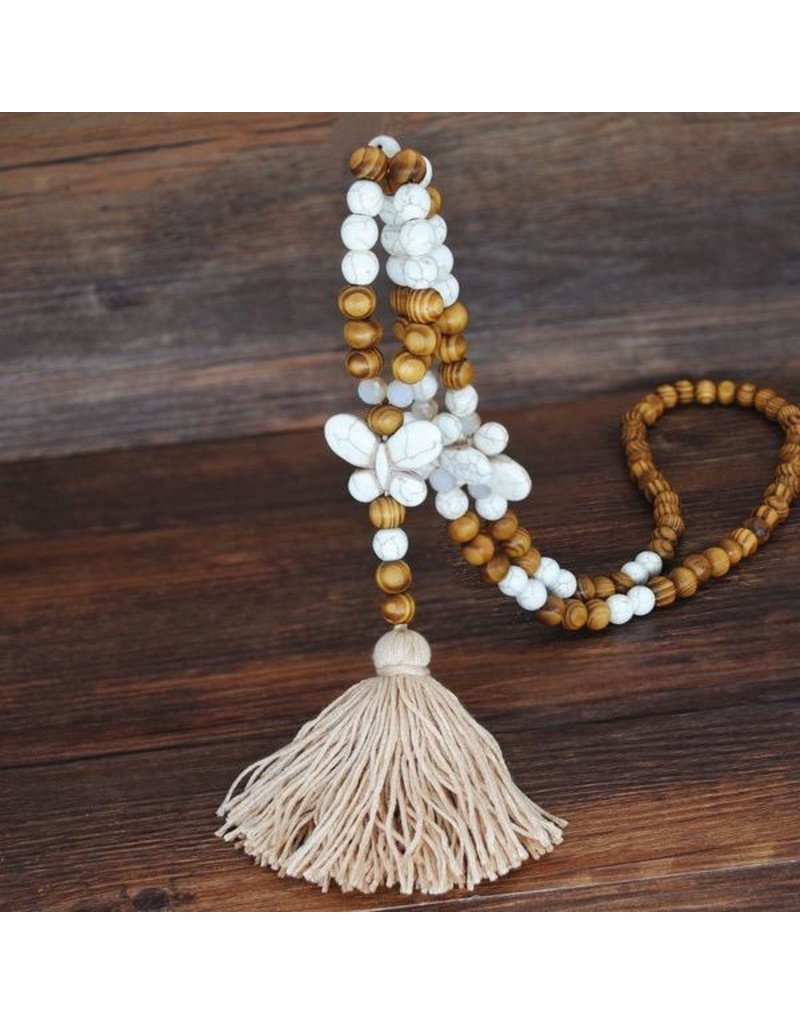 Necklace-Boho Wood Sweater, Tassel & Stone Pendant