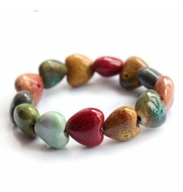 "Bracelet-Ceramic Stone Heart Beads (5.5""-7"")"