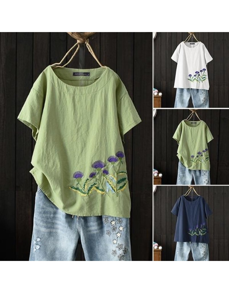 Top-Cotton Loose Blouse, Emb Flowers