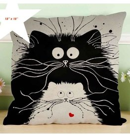 "Pillow-Vintage Cat Duo 18""x18"""