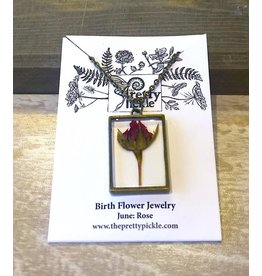 The Pretty Pickle Necklace-Birth Month Flower, JUNE, Rose