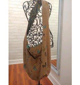 Art Studio Company Cotton Sling Bag-Bright Squirrel (Tan/Blue)