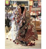 Art Studio Company Scarf Cotton-Paisley Square (Red & Black)