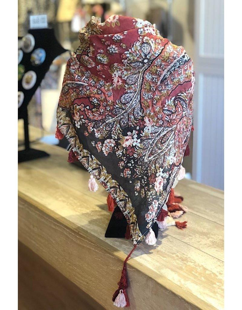 Art Studio Company Scarf Cotton-Paisley Square (Red & Black)