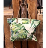 Art Studio Company Tote-Leather Strap Canvas-Ferns, Palm Leaves