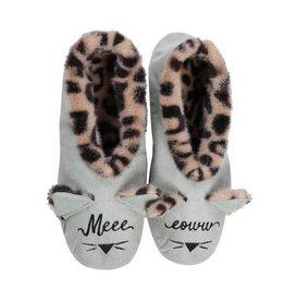 Faceplant Footsies Slippers-Meow, Meeeeoww