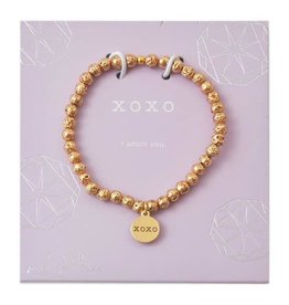f.y.b Jewelry Bracelet-Mini Gold Lavastone XOXO