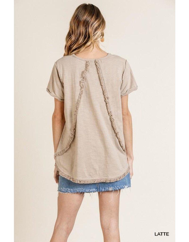 Umgee USA T-Shirt Top-Round Neck, Frayed Hem