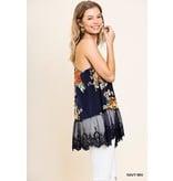 Umgee USA Top - Floral Print Racerback, Lace Hem