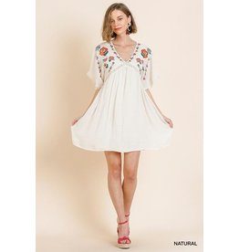 Umgee USA Dress-Babydoll Floral Emb & Lace Sleeve Trim