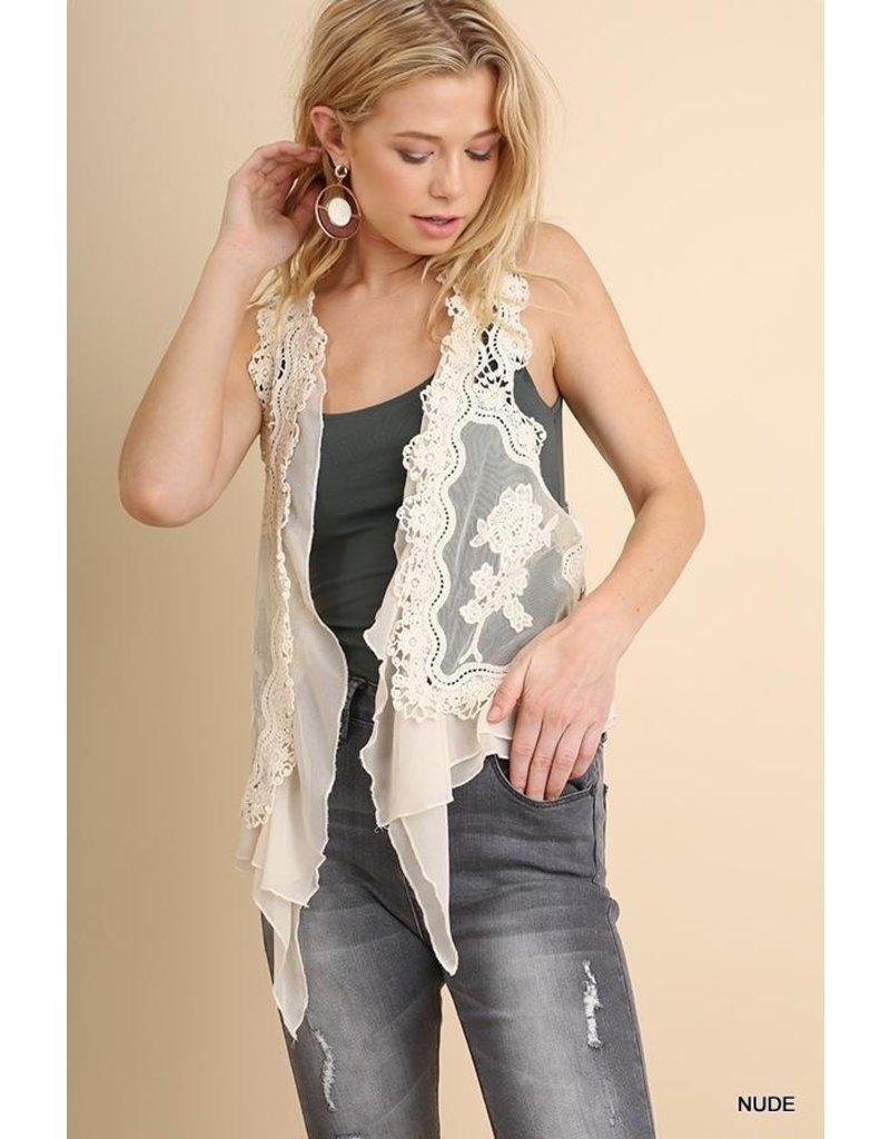 Umgee USA Crochet Lace Ruffle Vest